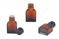 Staklena smeđa bočica 8 ml sa crnim plastičnim poklopcem i čepom