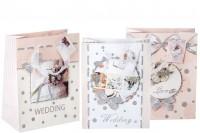 """Пластична торба за поклоне са """"браком"""" типом дизајна 3Д са ручком од сатена и сјајом"""