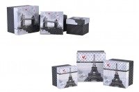 Ćetvrtasta plastificirana kutija za poklone, dizajn Pariz ili London- set 3 kutije S, M, L