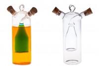 Staklena dupla flaša zajedno sa 2 plutana zatvarača i kukicom da bi se okačila. Ručne izrade od duvanog stakla