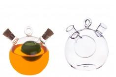 Staklena flaša u okrugloj formi sa dupla zajedno sa dva čepa od plute. Ručno izrađena od duvanog stakla - 414 ml