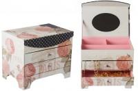 Кутија за накит са огледалом и фиоке са париским дизајном