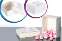 Папирна кутија бела са беж и сатенским луком