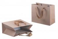 Papirna ekološka kesa 220x100x180mm, sa braon trakom širine 20mm- 20kom