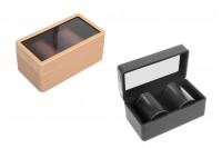 SET- futrola od kože (145x80x65 mm) sa prozorom i dve metalne kutije (47x65 mm)