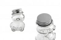 Staklena mala bočica 30 ml u obliku medveda sa aluminijumskim poklopcem u srebrnu boju