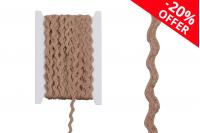 Ukrasna traka zig-zag od lana u boji kanapa, 6 mm širina, (1 kom.je 10 m)