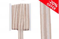 """Ukrasna """"gro"""" traka od lana dvobojna bež – smeđa, širina 30 mm (jedan komad je 10 Metara)"""