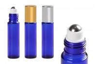 Staklena plava roll-on bočica 10ml sa metalnom kuglicom- 6 komada