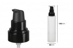 Staklena peskirana bočica 150ml sa crnom plastičnom bočicom i providnim plastičnim poklopcem