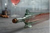 Ručno izrađena flaša u obliku ribe od duvanog stakla 61 cm sa pampurom