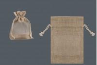 Braon platnena vrećica 100x140 mm sa prozor od tila- 12kom