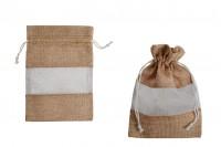 Platnena braon vrećica 130x180mm, sa prozorom - 12kom