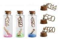 Staklena flašica sa zatvaračem od plute sa brojevima