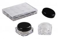 Akrilna, providna kutija, kockasta, 5 ml, sa crnim poklopcem za kreme u akrilnoj ambalaži – set od 12 komada                          Šifra:76-1    Zapremina 5 ml