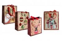 Божићна торба са црвеном сатенском траком за ручку 195к80к235 мм - 12 ком