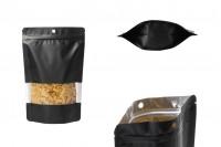 Crna aluminijumska DoyPack kesica 160x40x240mm, sa prozorom, zip zatvaranjem, mogućnošću termo zatvaranja- 100kom