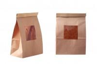 Papirna kraft kesa 150x80x225mm sa prozorom i žicom za zatvaranje (tin-tie)- 50 komada