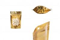 Aluminijumske DoyPack vrećice 90x30x140mm sa zip zatvaranjem, sa zlatnom zadnjom stranom i transparetnom prednjom stranom– 100kom