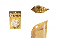 Aluminijumske DoyPack vrećice 100x30x150 mm sa zip zatvaranjem, sa zlatnom zadnjom stranom i transparetnom prednjom stranom– 100kom