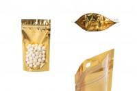 Aluminijumske DoyPack vrećice 100x30x180mm sa zip zatvaranjem, sa zlatnom zadnjom stranom i transparetnom prednjom stranom– 100kom
