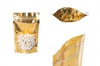 Aluminijumske DoyPack vrećice 130x40x205mm sa zip zatvaranjem, sa zlatnom zadnjom stranom i transparetnom prednjom stranom– 100kom