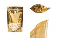 Aluminijumske DoyPack vrećice 150x40x230 mm sa zip zatvaranjem, sa zlatnom zadnjom stranom i transparetnom prednjom stranom– 100kom