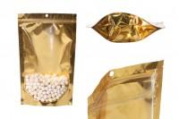Aluminijumske DoyPack vrećice 180x50x280 mm sa zip zatvaranjem, sa zlatnom zadnjom stranom i transparetnom prednjom stranom– 100kom