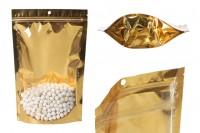 Aluminijumske DoyPack vrećice 200x50x300mm sa zip zatvaranjem, sa zlatnom zadnjom stranom i transparetnom prednjom stranom– 100kom