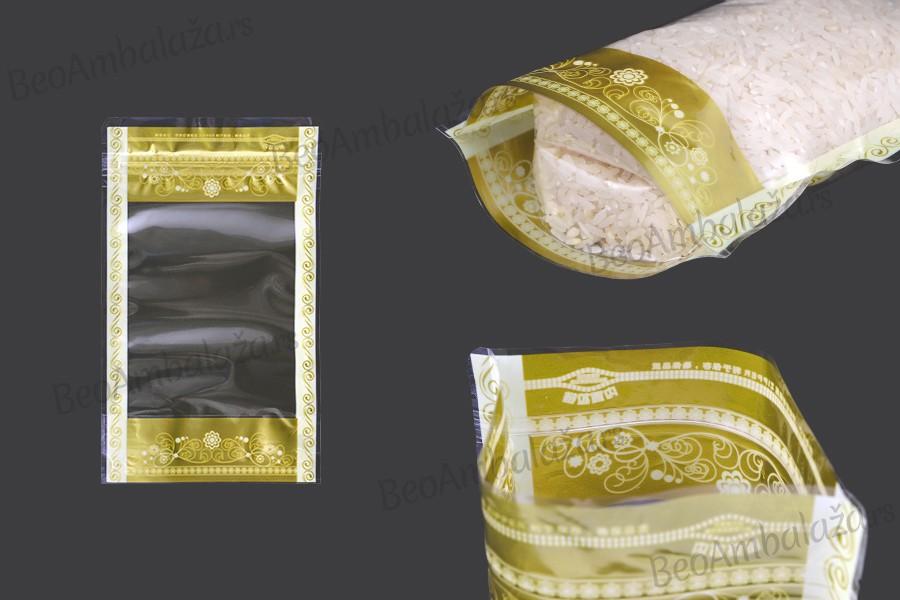 Providne DoyPack kesice 120x35x200mm sa zip zatvaranjem, transparetnom prednjom stranom i mogućnošću termo lepljenja– 50kom