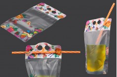 Plastična providna DoyPack kesica 450ml sa zip zatvaranjem i rupicama sa slamčicu- 50kom