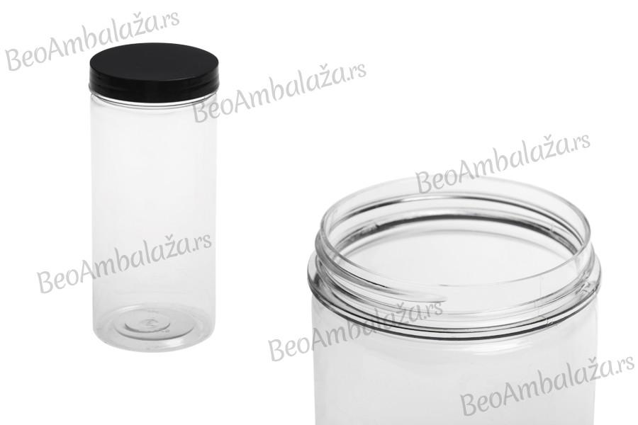 Tegla za so za kupanje 400 ml plastična providna sa crnim poklopcem 65x145 mm