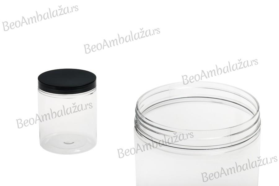 Tegla za so za kupanje 750 ml sa plastična providna sa crnim poklopcem 100x120 mm
