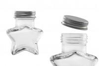 Staklena teglica 60 ml u obliku zvezde sa aluninijumskim poklopcem u srebrnoj boji