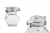 Staklena teglica 100 ml, višeugaona sa hermetičkim zatvaranjem ( žica i gumica na poklopcu )