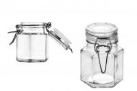 Staklena teglica 100 ml šestougaona 53x80 mm sa hermetičkim zatvaranjem ( žica i gumica i na poklopac )