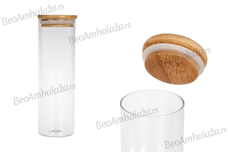 Staklena teglica 550ml sa drvenim poklopcem i gumicom