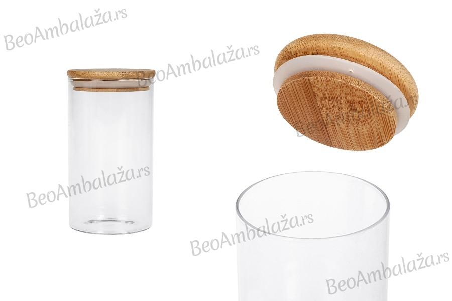 Staklena teglica 700 ml, okrugla sa drvenim poklopcem i gumicom