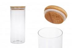 Staklena teglica 1000 ml, okrugla sa drvenim poklopcem i gumicom